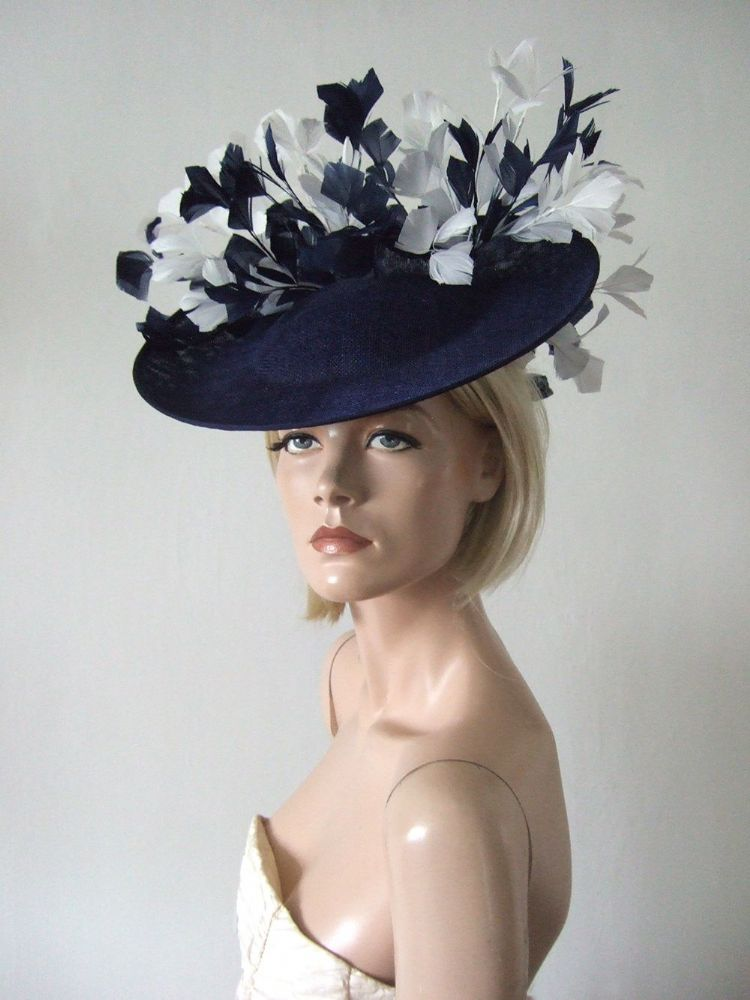 Navy White Saucer Feather Tree Hat Headpiece Fascinator. Kentucky Derby Hats. Navy and White Mother of the Bride Hat. Navy and white Royal Ascot Hat. Hats for Epsom Races. Navy and White Fascinator.